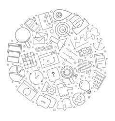 marketing circle background from line icon vector image