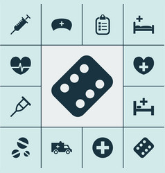 Medicine icons set collection of peck mark vector