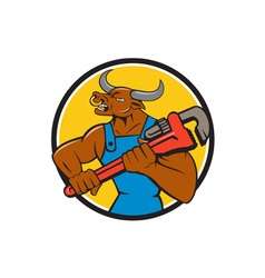 Minotaur Bull Plumber Wrench Circle Cartoon vector