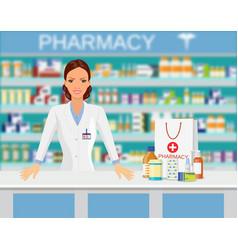 modern interior pharmacy or drugstore vector image