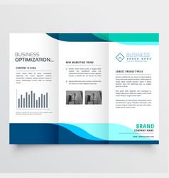 Modern tri-fold brochure design with blue shapes vector