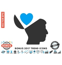 Open Mind Love Heart Flat Icon With 2017 Bonus vector image