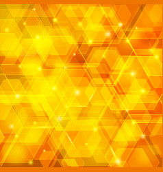 Orange abstract techno background with hexagons vector