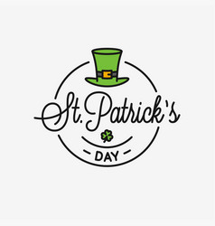 patrick day logo round linear logo patrick hat vector image