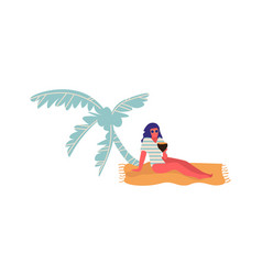 people at beach cartoon woman lie on sand under vector image