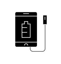 phone charging black concept icon phone vector image