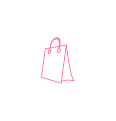 Pink shopping bag retail logo design template vector