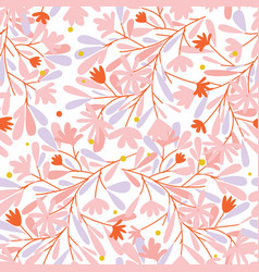 pink sweet flower and leave seamless pattern vector image