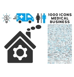 Plant Building Icon with 1000 Medical Business vector image