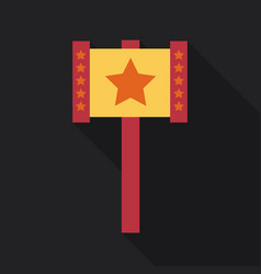 Plastic toy hammer in flat style with shadow vector