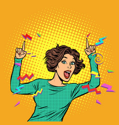 pop art woman pointing finger vector image