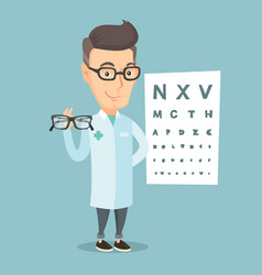 professional ophthalmologist holding eyeglasses vector image