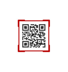 qr code with red frame label contains product vector image
