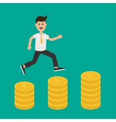 Running businessman charcter Gold coin stacks icon vector