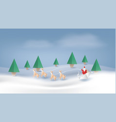santa claus reindeer and fir-tree for christmas vector image