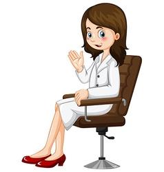Scientist sitting on chair vector