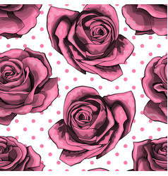 seamless pattern background with pink roses vector image