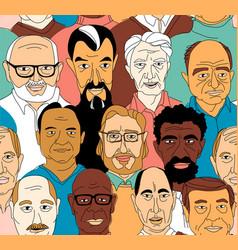 senior mens head portraits grunge line drawing vector image