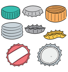 Set bottle cap vector