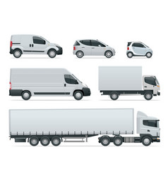 Set cargo trucks side view delivery vehicles vector