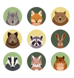set flat animal icons vector image