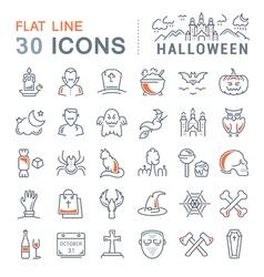 Set flat line icons halloween vector