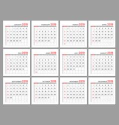 set identical light mini calendars 2019 months vector image