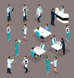 Set isometric doctors hospital staff vector