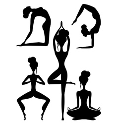 Set of black and white yoga poses vector image