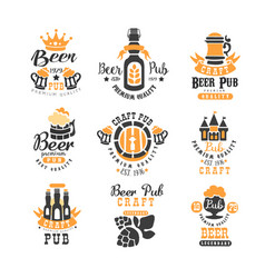 Set of creative emblems for beer pub bar vector