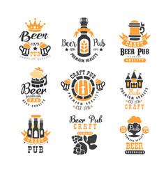 set of creative emblems for beer pub bar vector image