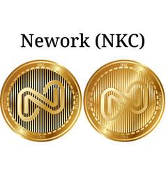 Set of physical golden coin nework nkc vector