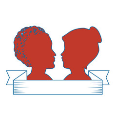 silhouette of womens heads icon vector image