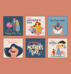six designs for mothers day greeting cards with vector image