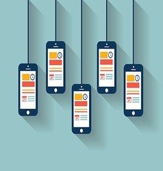 smartphones hanging from the wall vector image