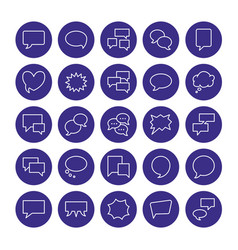 speech bubble speech flat line icons chat vector image