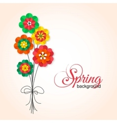 Spring cutout paper flowers bouquet spring vector