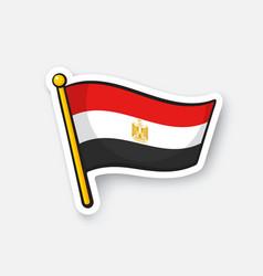 Sticker flag egypt on flagstaff vector