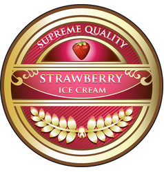 Strawberry ice cream icon vector
