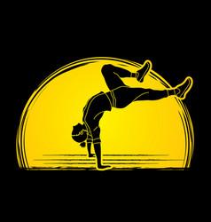 Street dance b boys dance hip hop exercise yoga vector