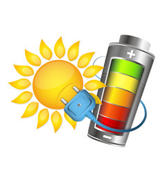 Sun and battery charging vector