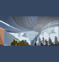 Swirling tornado in city destroy buildings vector