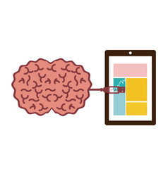 Tablet and usb connected to brain vector