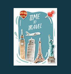 Tourism day poster design with europe usa italy vector