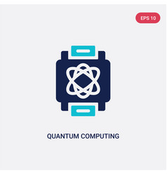 Two color quantum computing icon from artificial vector