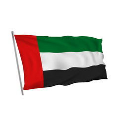 United arab emirates flag on pole in wind vector