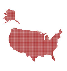 usa dotted red map abstract united states map vector image
