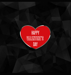 Valentines day heart on low poly background vector