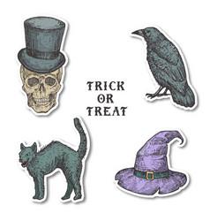 vintage style halloween stickers bundle hand vector image