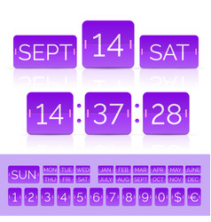 Violet flat countdown timer with numbers and vector